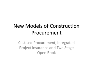 Target Value Design: Target Costing in the Construction Industry