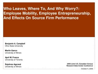 Who Leaves, Where To, And Why Worry: Employee Mobility, Employee Entrepreneurship, And Effects On Source Firm Performanc