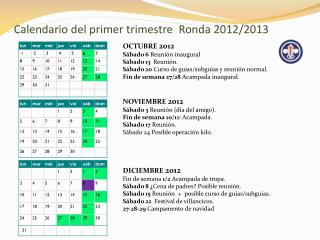 Calendario del primer trimestre  Ronda 2012/2013