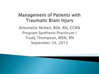 Management of Patients with Traumatic Brain Injury