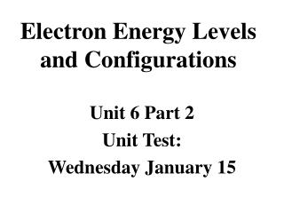 Electron Energy Levels  and Configurations