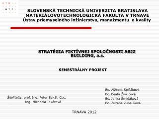 STRATÉGIA FIKTÍVNEJ SPOLOČNOSTI ABJZ BUILDING, a.s. SEMESTRÁLNY PROJEKT