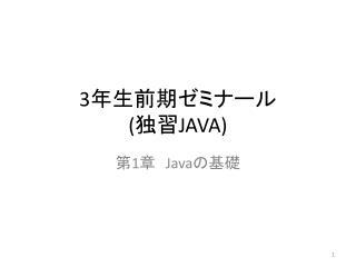 3 年生前期ゼミナール  ( 独習 JAVA)