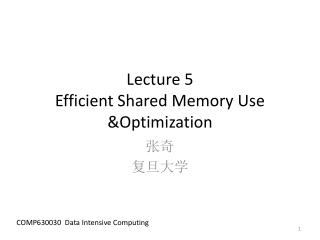 Lecture  5 Efficient  Shared Memory  Use &Optimization