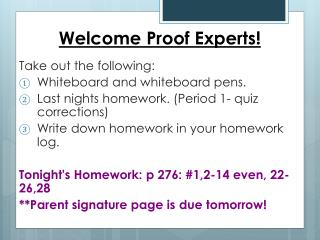 Welcome Proof Experts!