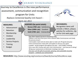RESOURCES:  scouting/scoutsource/Awards/JourneyToExcellence.aspx