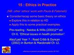 15 : Ethics in Practice NB. other  ethics  work with Paula  Fatemeh