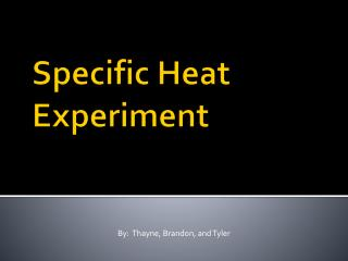 Specific Heat Experiment