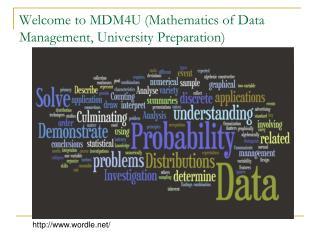 Welcome to MDM4U (Mathematics of Data Management, University Preparation)