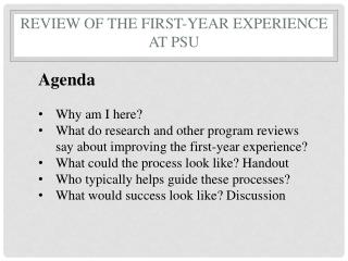 Review of the First-Year Experience at PSU