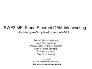 PWE3 MPLS and Ethernet OAM Interworking draft-ietf-pwe3-mpls-eth-oam-iwk-03.txt