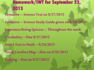Homework/IWT for September 23, 2013