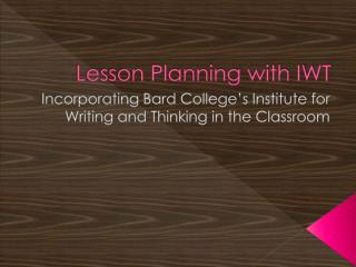 Lesson Planning with IWT
