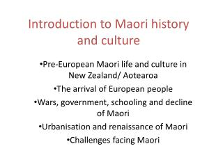 Introduction to Maori history and culture
