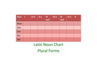 Latin Noun Chart  Plural Forms