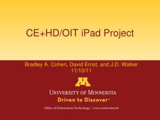 CE+HD/OIT iPad Project