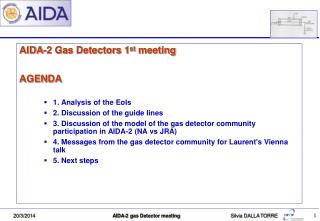 AIDA-2 Gas Detectors 1 st meeting  AGENDA  1. Analysis of the  EoIs