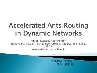 Accelerated Ants Routing in Dynamic Networks