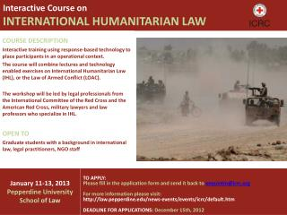 Interactive Course on  INTERNATIONAL HUMANITARIAN LAW