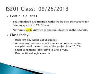 IS201 Class:   09/26/2013