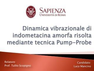 Dinamica vibrazionale di  indometacina  amorfa risolta mediante tecnica  Pump-Probe