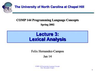 Lecture 3:  Lexical Analysis