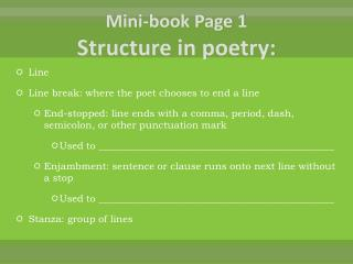 Mini-book Page 1 Structure in poetry: