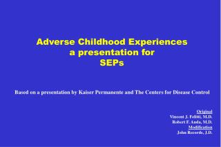 Adverse Childhood Experiences a presentation for SEPs