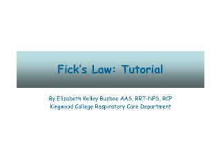 Fick s Law: Tutorial