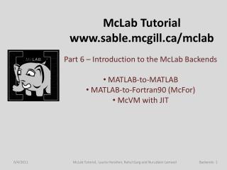 McLab  Tutorial sable.mcgill/mclab