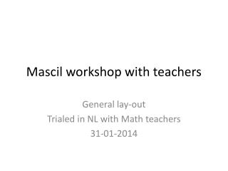 Mascil  workshop with teachers