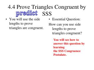 4.4 Prove Triangles Congruent by SSS