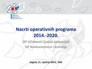 Nacrti operativnih programa 2014.-2020.