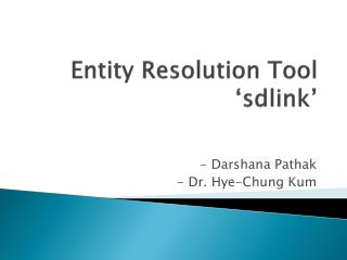 Entity Resolution Tool ' sdlink '