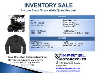 INVENTORY SALE I n-store Stock  Only – While Quantities Last