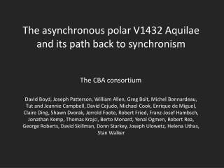 The asynchronous polar V1432  Aquilae  and its path back to  synchronism