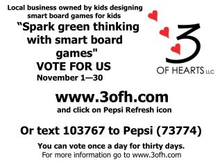 "Local business owned by kids designing  smart board games for kids    ""Spark green thinking"