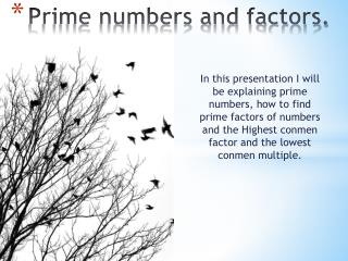 Prime numbers and factors.