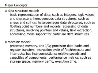 Major Concepts:  a data structure model: