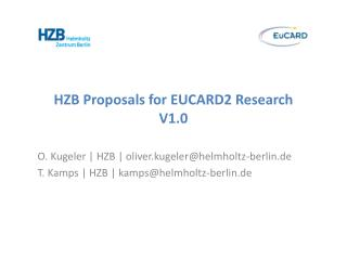 HZB Proposals for EUCARD2 Research  V1.0