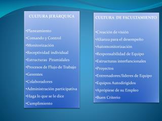 CULTURA JERÁRQUICA Planeamiento Comando y Control Monitorización Receptividad individual