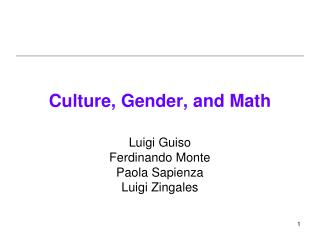 Culture, Gender, and Math
