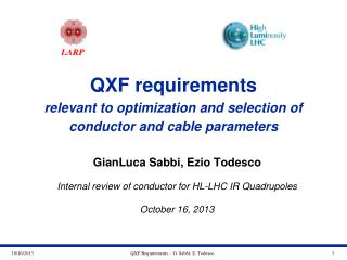 QXF requirements relevant to optimization and selection of conductor and cable parameters