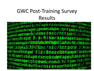 GWC Post-Training Survey Results