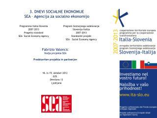 3.  DNEVI SOCIALNE EKONOMIJE  SEA – Agencija za socialno ekonomijo