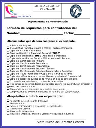 Departamento  de  Administración Formato de requisitos para contratación de: