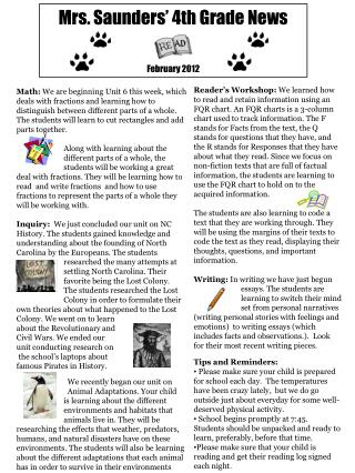 Mrs. Saunders' 4th  Grade  News February 2012