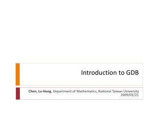 Introduction to GDB
