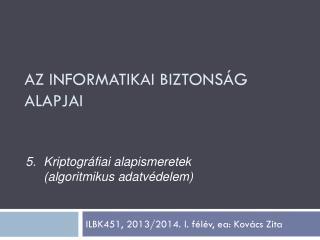ILBK451, 2013/2014. I. f�l�v,  ea : Kov�cs Zita