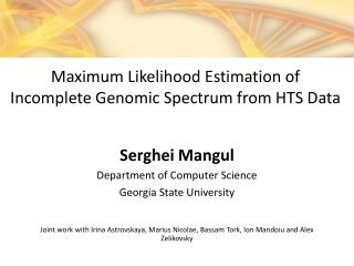 Serghei Mangul Department of Computer Science Georgia State  University